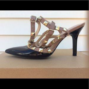 BCBG Rock Stud Ankle Strap Heels